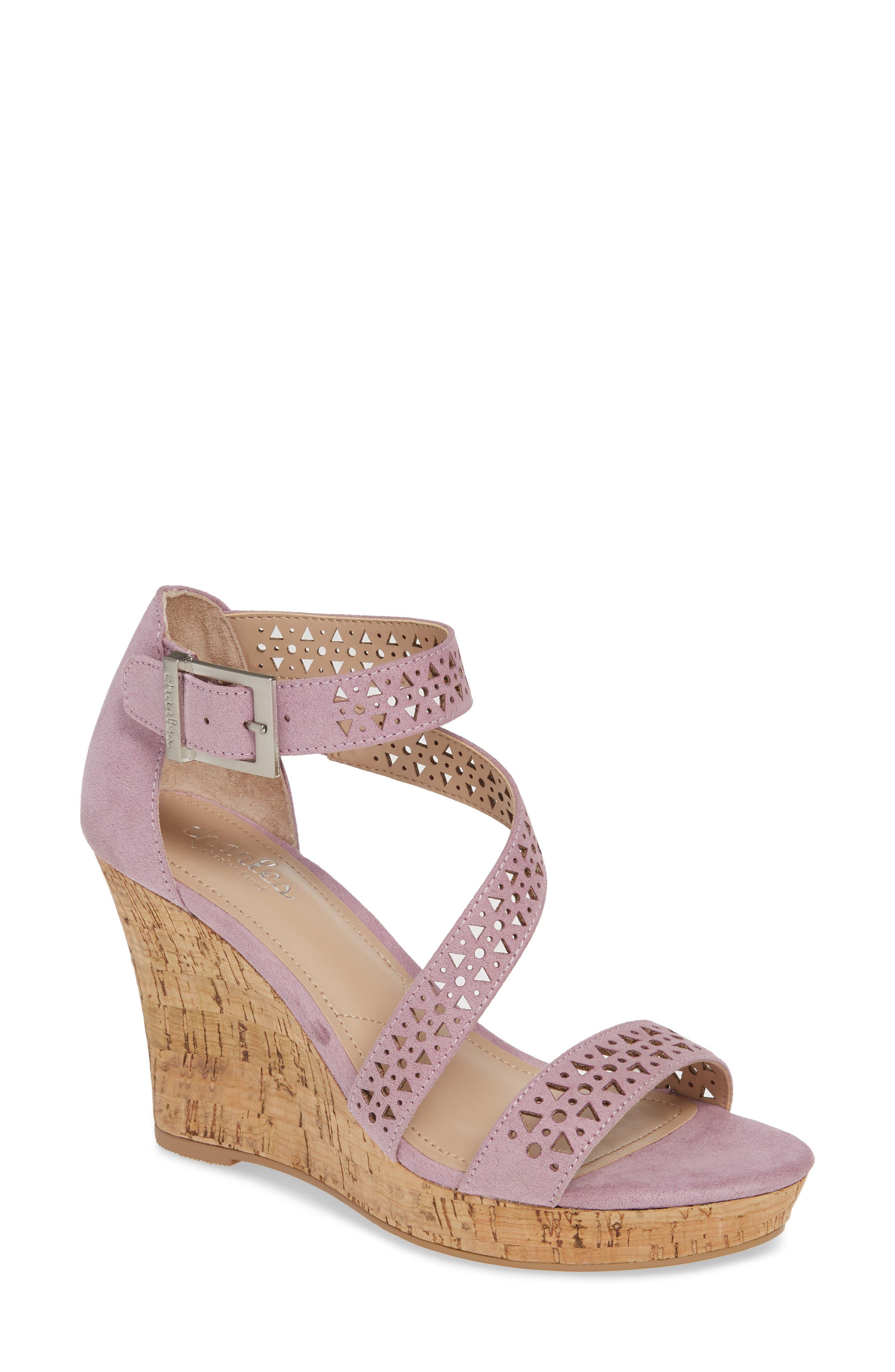 Charles By Charles David Landon Perforated Wedge Sandal- Purple