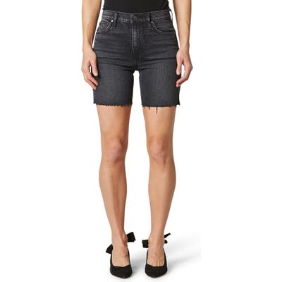 Hudson Jeans Hana Raw Hem Denim Biker Shorts, Black