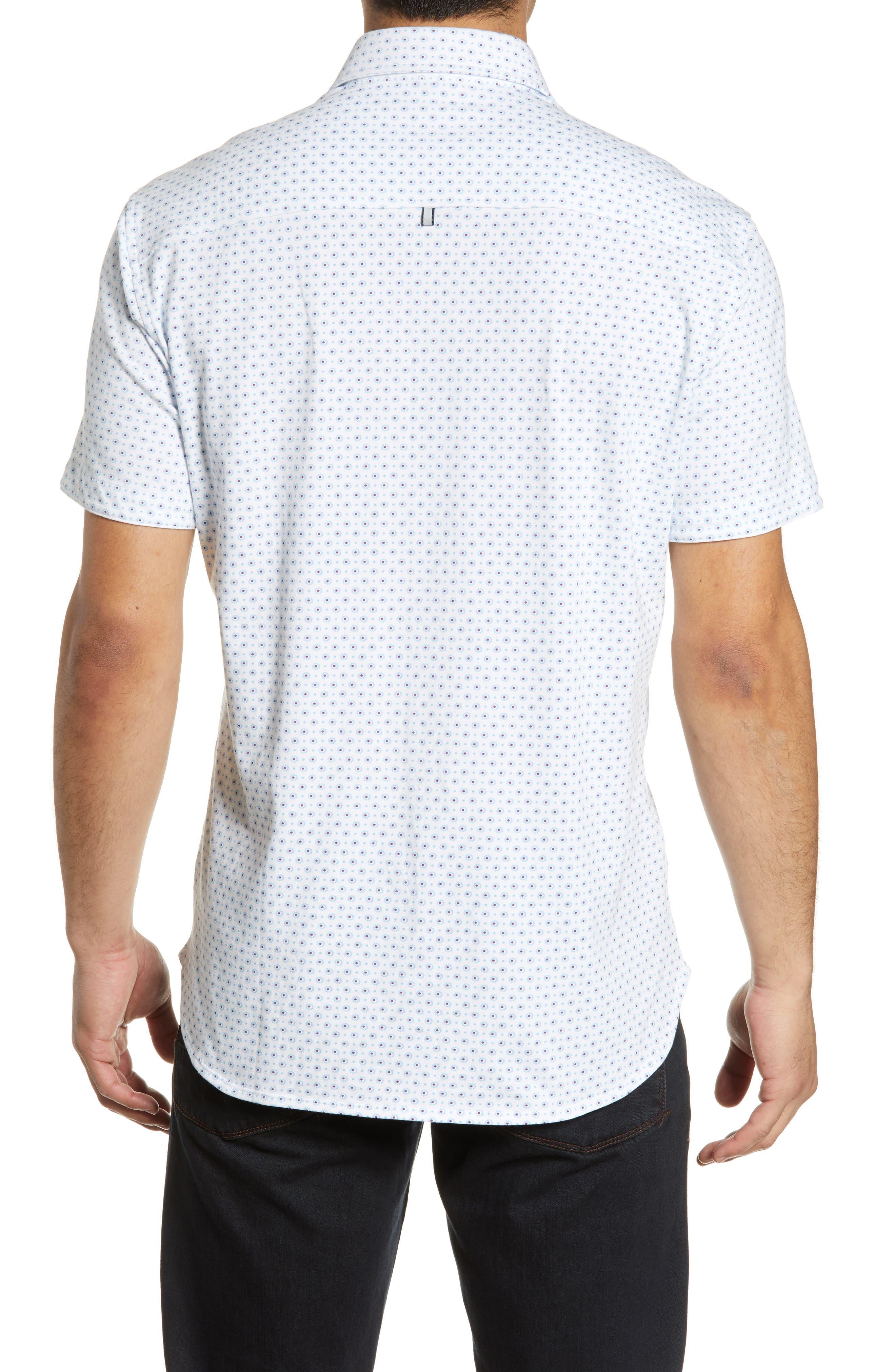 ,                             Regular Fit Geo Print Performance Knit Sport Shirt,                             Alternate thumbnail 3, color,                             LIGHT BLUE