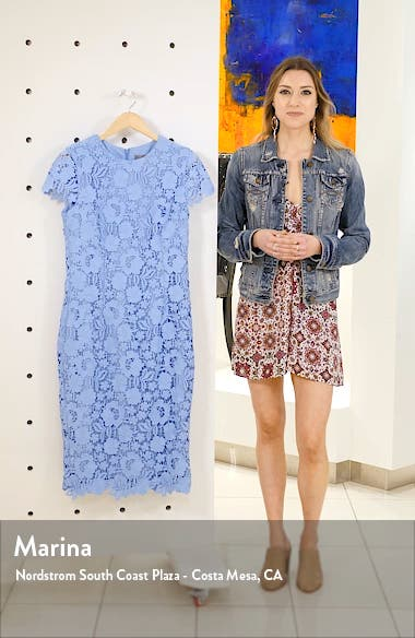 Fitted Floral Guipure Lace Dress, sales video thumbnail