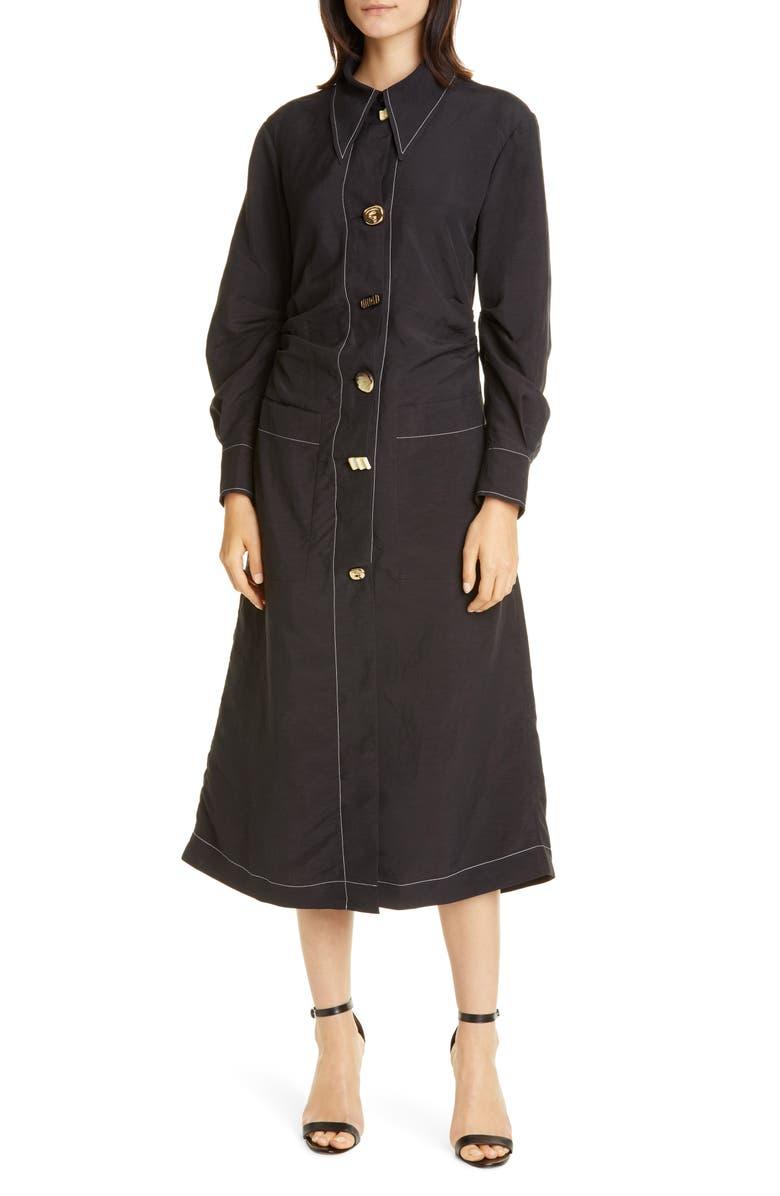 REJINA PYO Paula Ruched Long Sleeve Midi Shirtdress, Main, color, 001