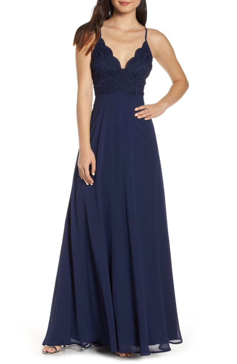 LULUS Madalyn V-Neck Lace & Chiffon Evening Dress, Main, color, NAVY