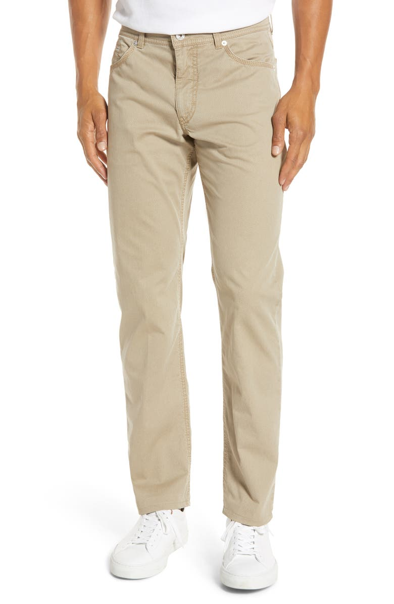BRAX Cooper Bird's Eye Dress Pants, Main, color, BEIGE