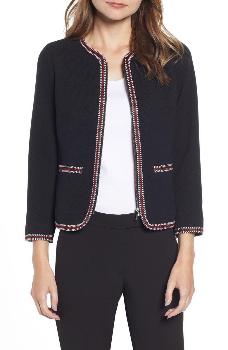 ANNE KLEIN Braided Trim Jacket, Main, color, ANNE BLACK