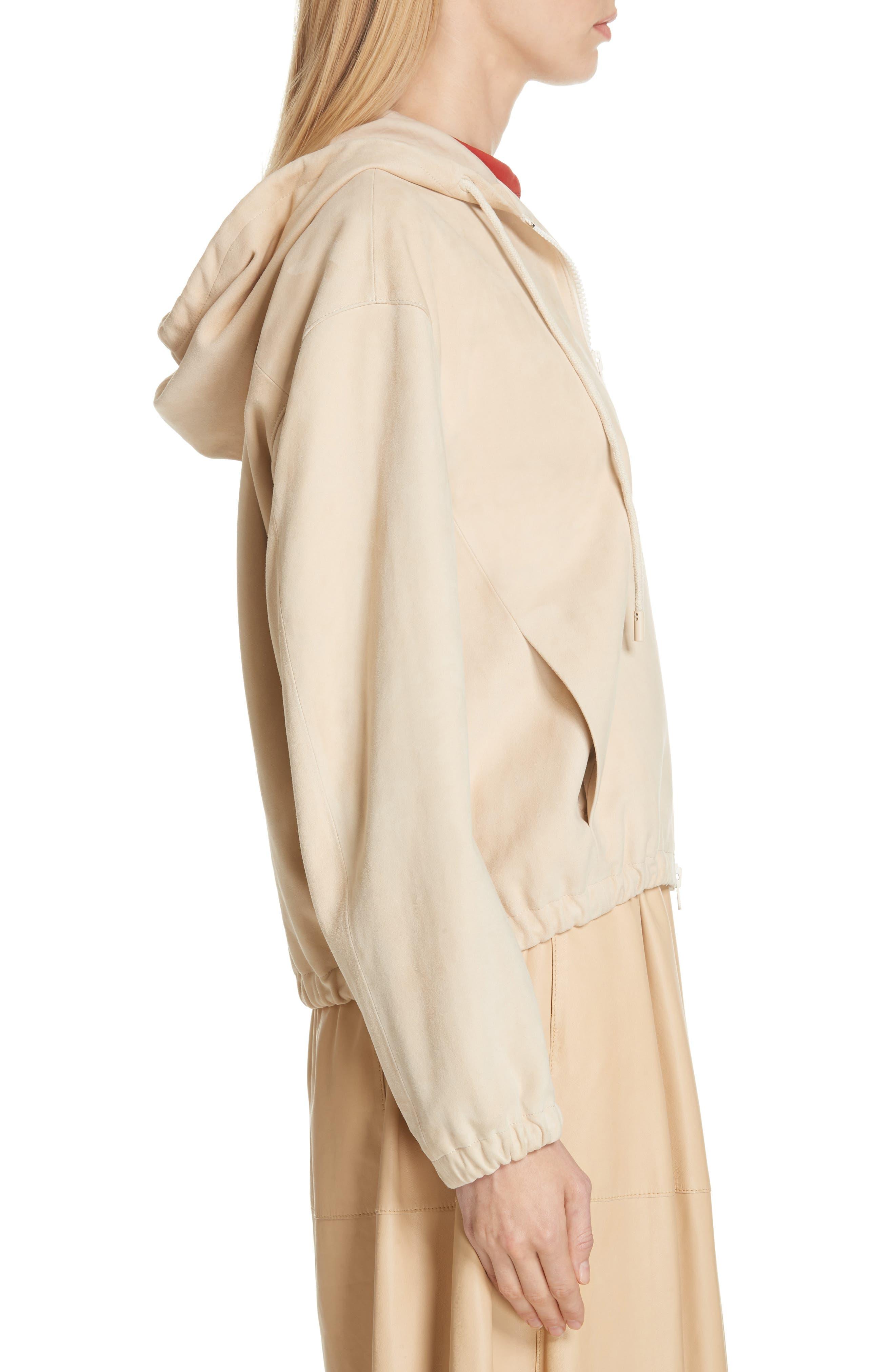 ,                             Suede Zip Hooded Jacket,                             Alternate thumbnail 3, color,                             FENNEL