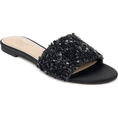 Jewel Badgley Mischka Noland Embellished Slide Sandal, Black