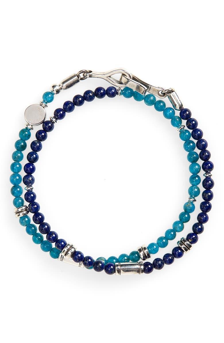 CAPUTO & CO. Stone Bead Wrap Bracelet, Main, color, LAPIS LAZULI/ BLUE