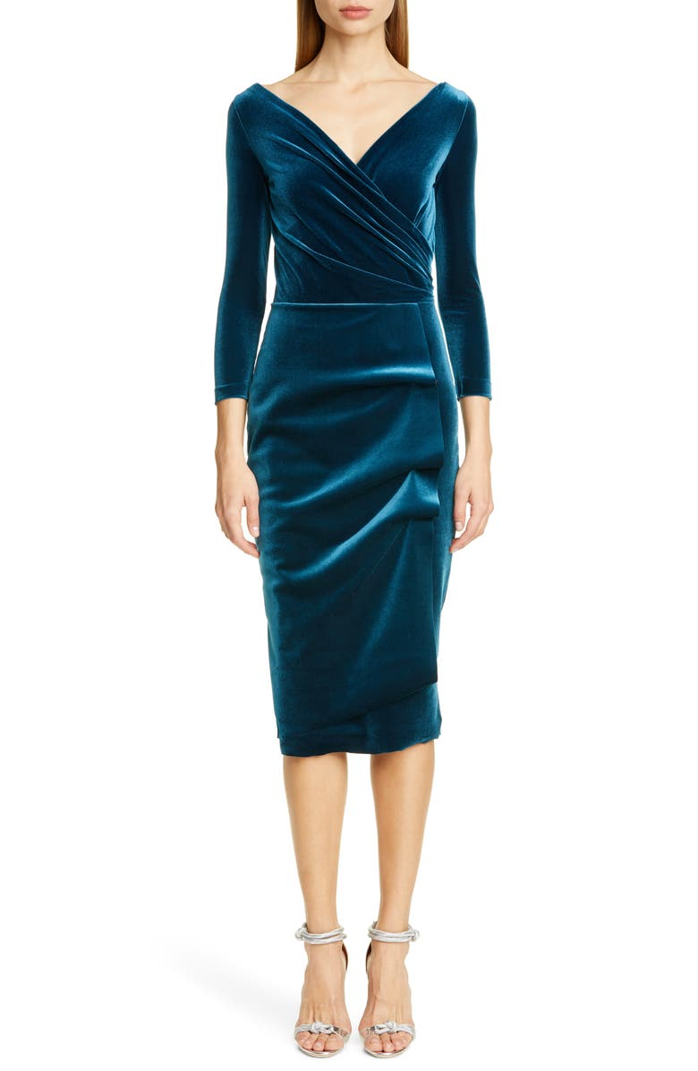 CHIARA BONI LA PETITE ROBE Florien Velvet Dress, Main, color, TEAL