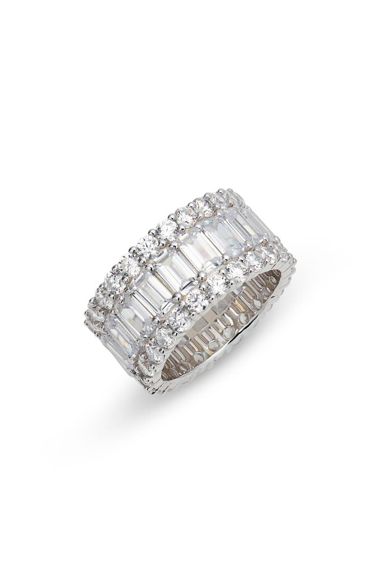 ADINA'S JEWELS Wide Baguette Eternity Band, Main, color, SILVER