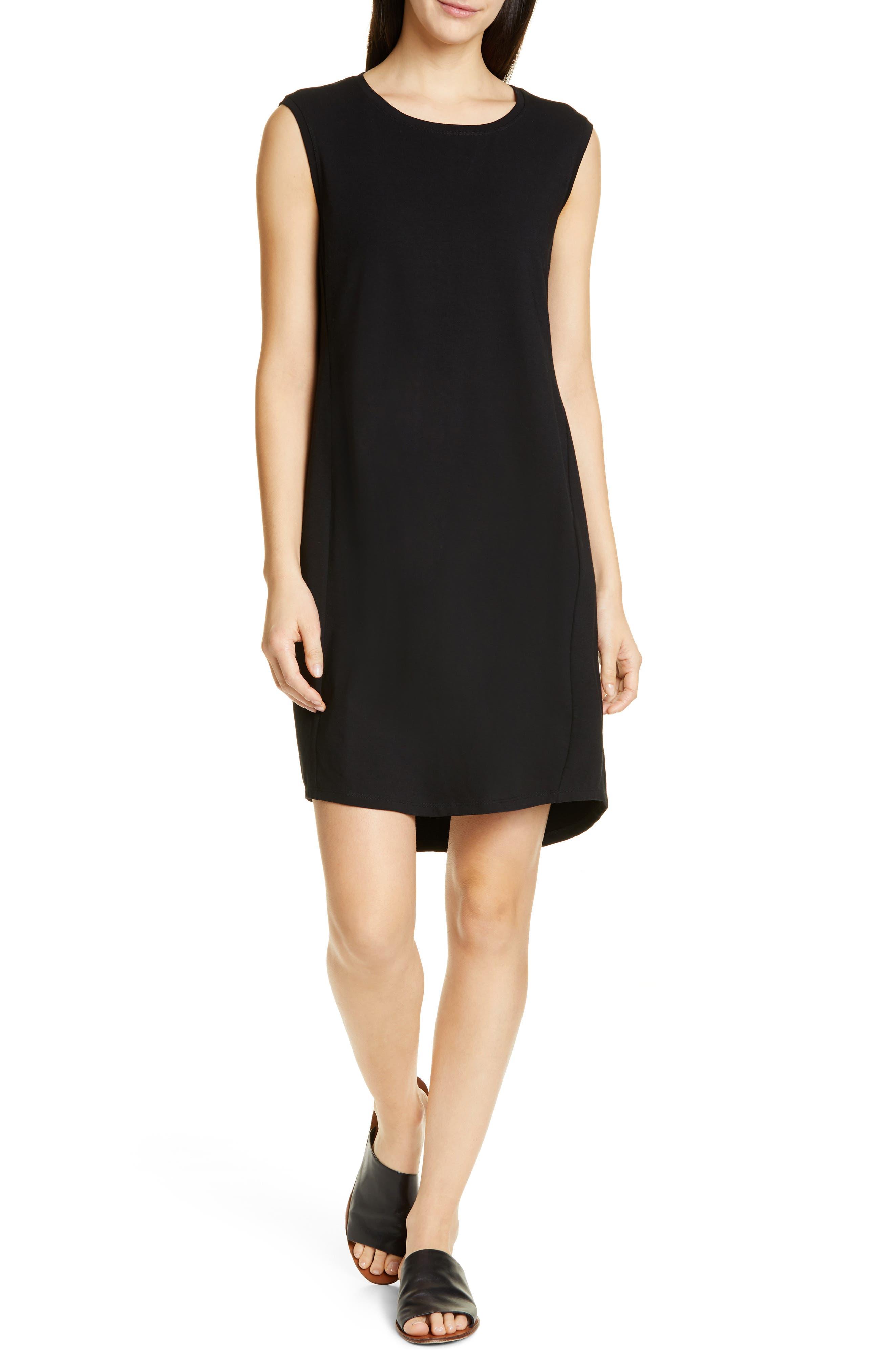 Petite Eileen Fisher Scoop Neck Sleeveless Dress, Black