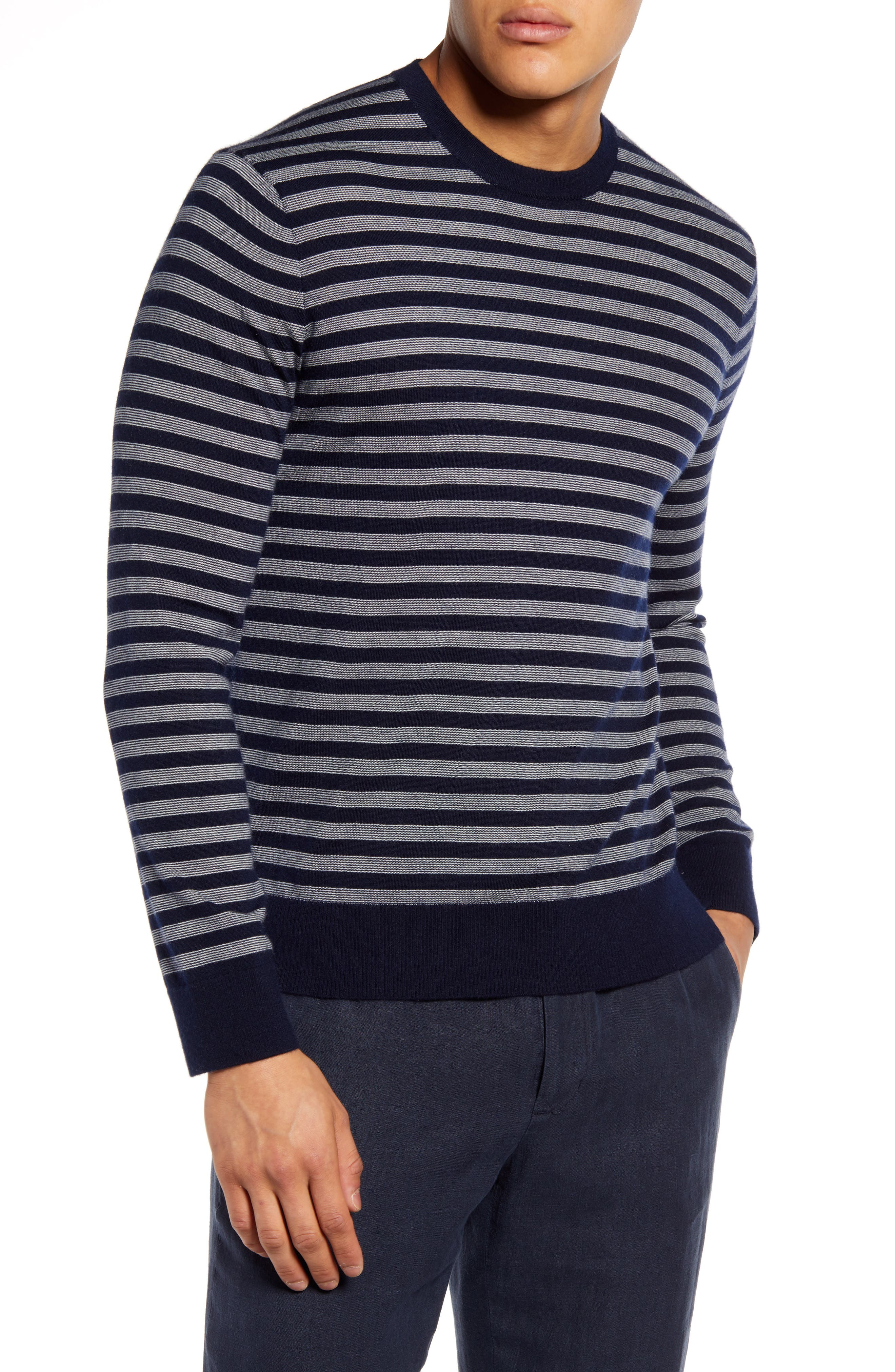 Image of Vince Stripe Crewneck Wool & Cashmere Sweater