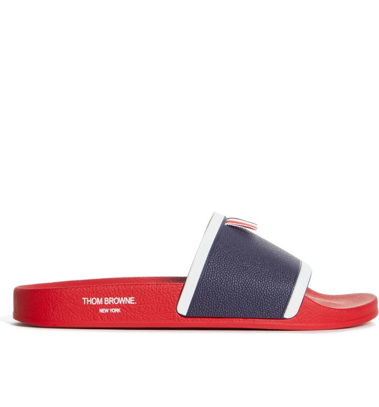 THOM BROWNE Rubber Sport Slide, Main, color, Red/White/Blue