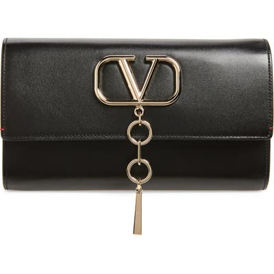 Valentino Garavani V-Case Leather Clutch - Black