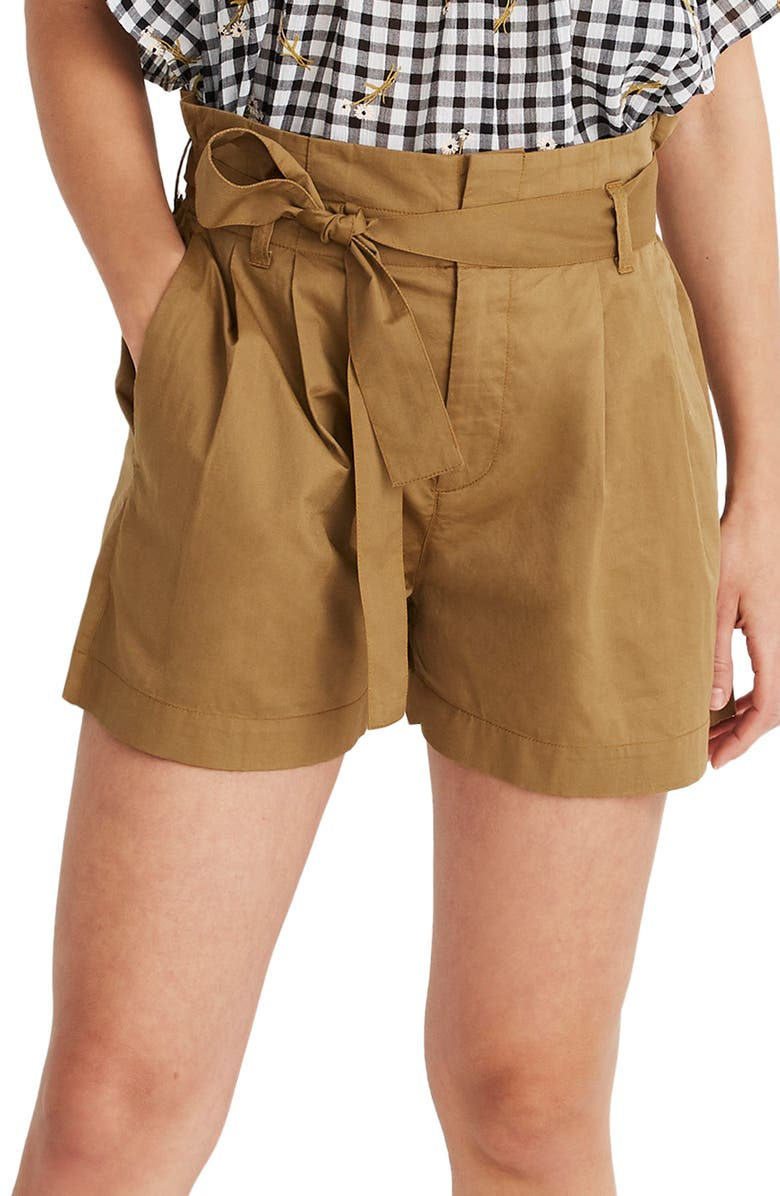 MADEWELL Paperbag Waist Shorts, Main, color, 200