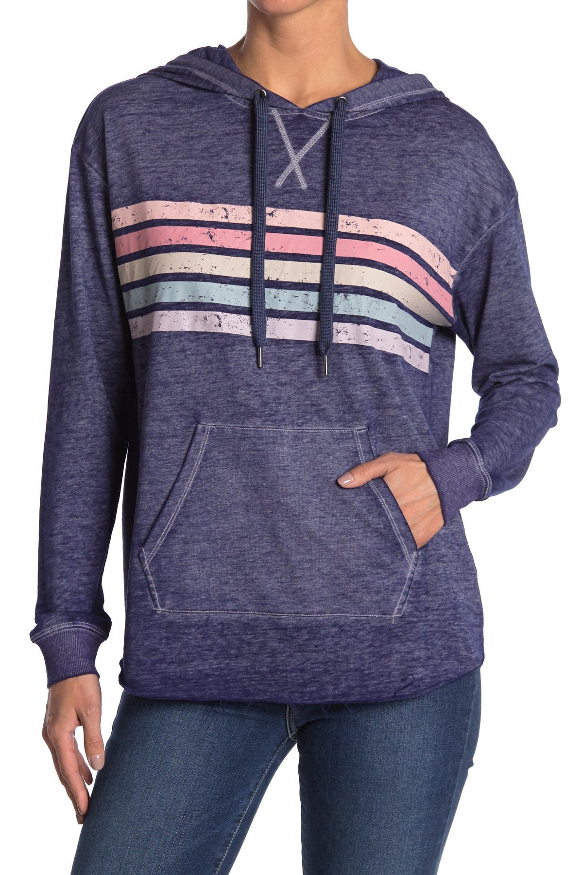 Image of C & C California Washed Chest Stripe Hoodie