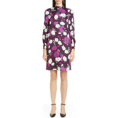 Erdem Floral Print Long Sleeve Satin Shift Dress, US / 10 UK - Purple