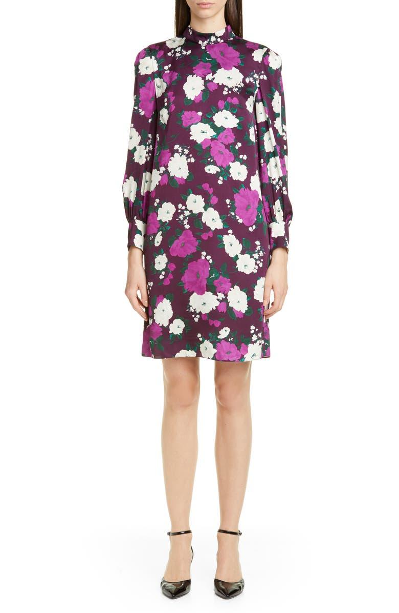 Erdem Floral Print Long Sleeve Satin Shift Dress | Nordstrom