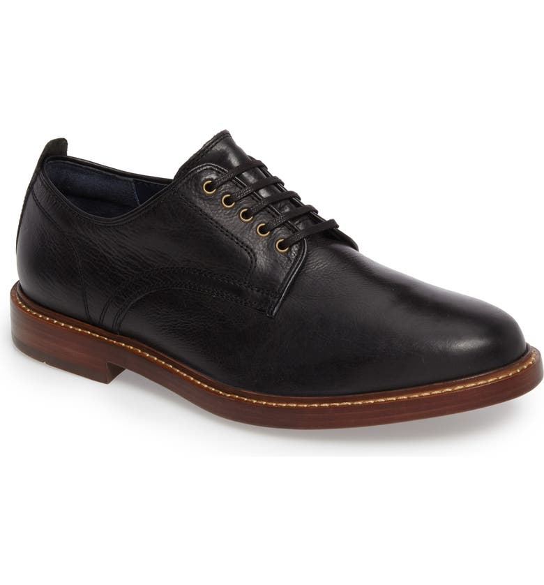 COLE HAAN Tyler Grand Plain-Toe Derby, Main, color, BLACK LEATHER