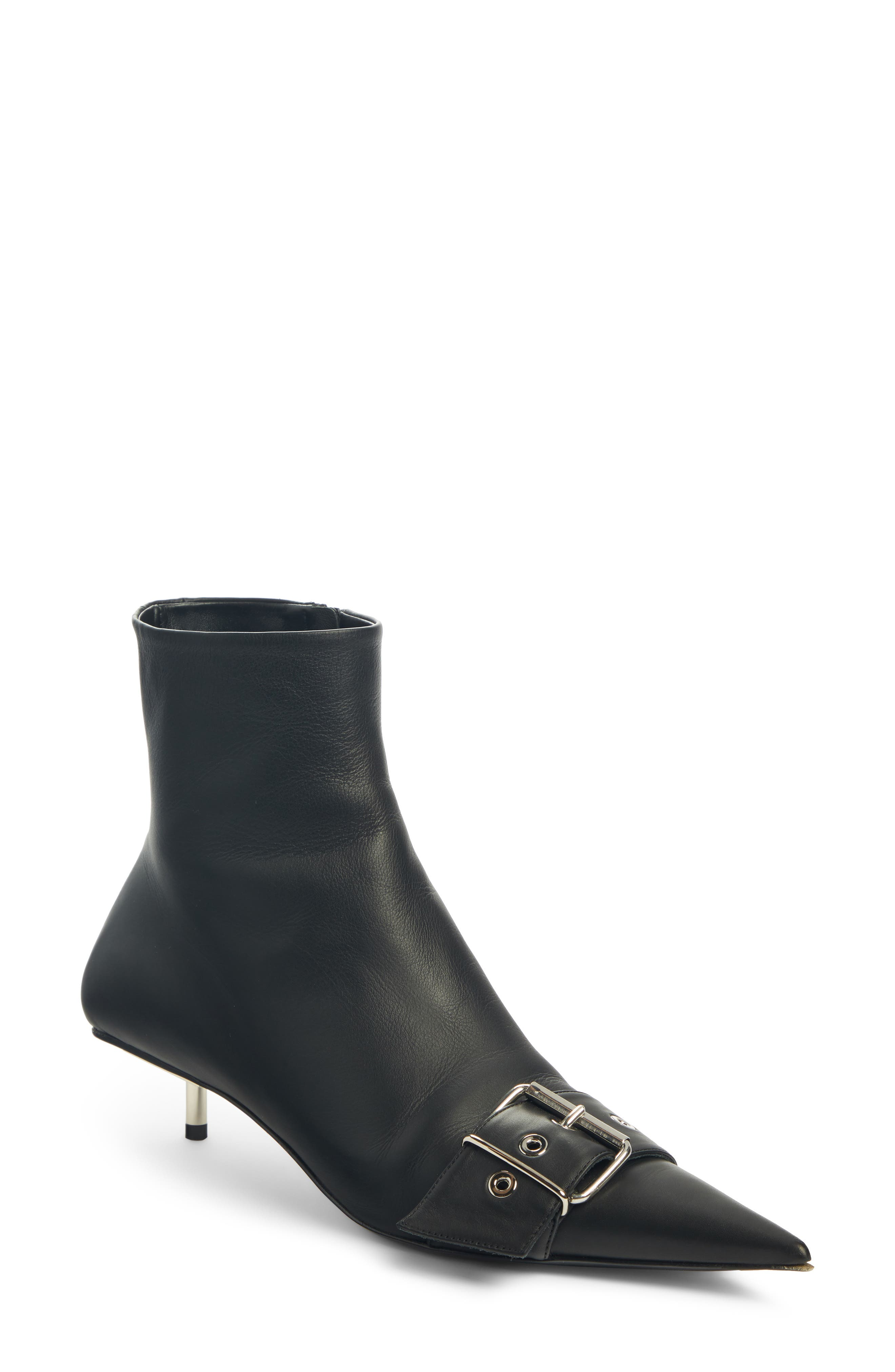 Balenciaga Belted Pointy Toe Bootie, Black