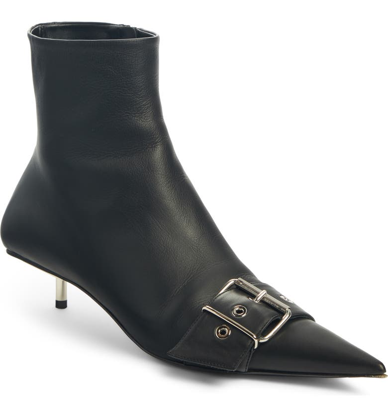 BALENCIAGA Belted Pointy Toe Bootie, Main, color, BLACK/ NICKEL