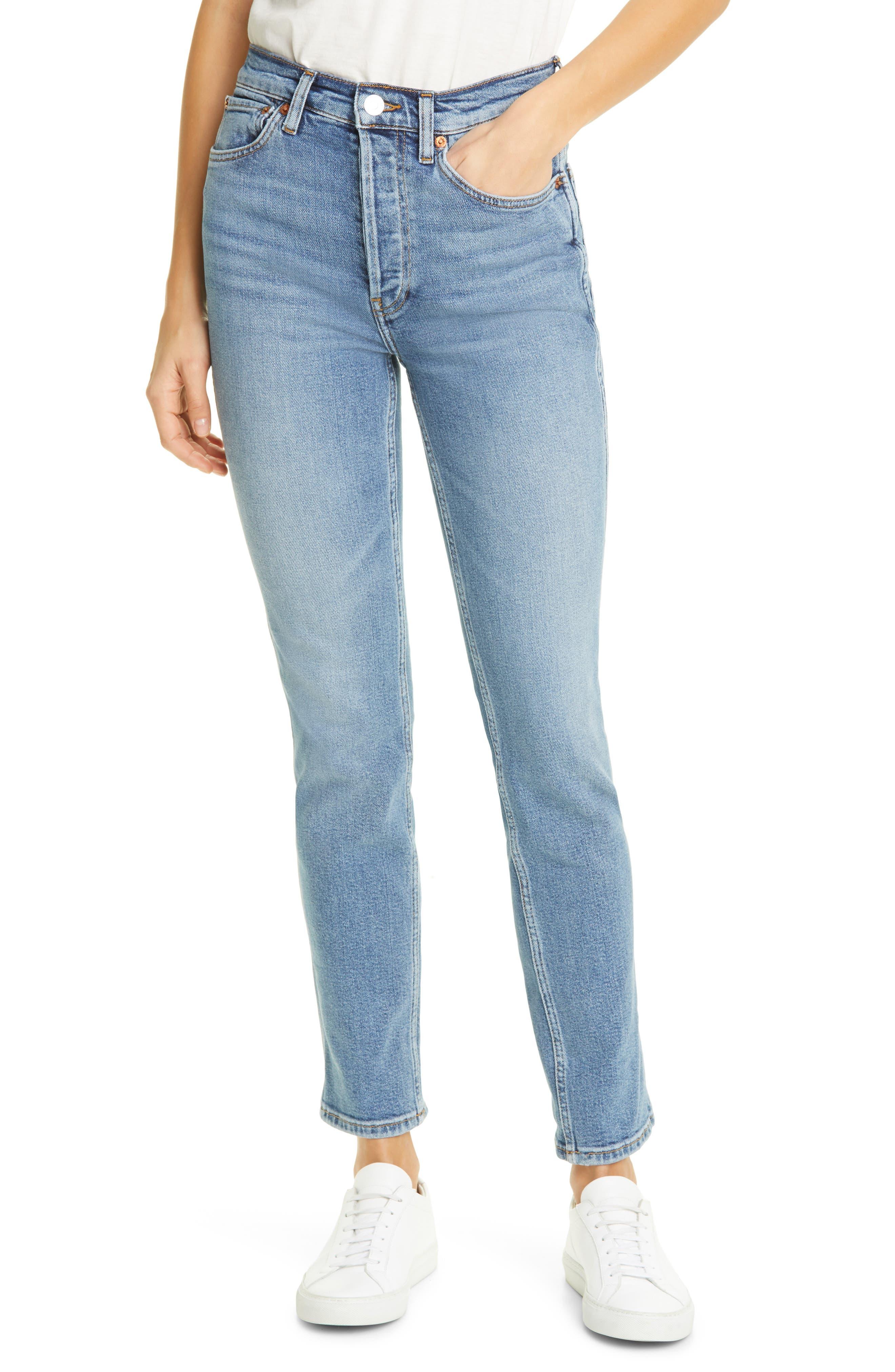 80s Jeans, Pants, Leggings Womens Redone 80S High Waist Slim Straight Leg Jeans $250.00 AT vintagedancer.com
