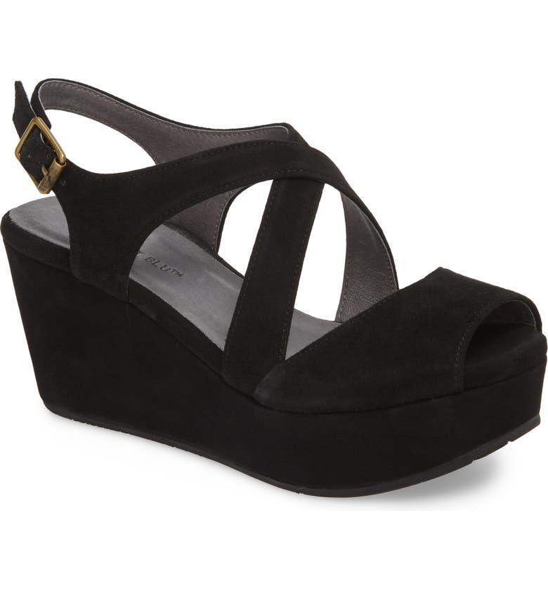CHOCOLAT BLU Winnie Wedge Sandal, Main, color, BLACK SUEDE