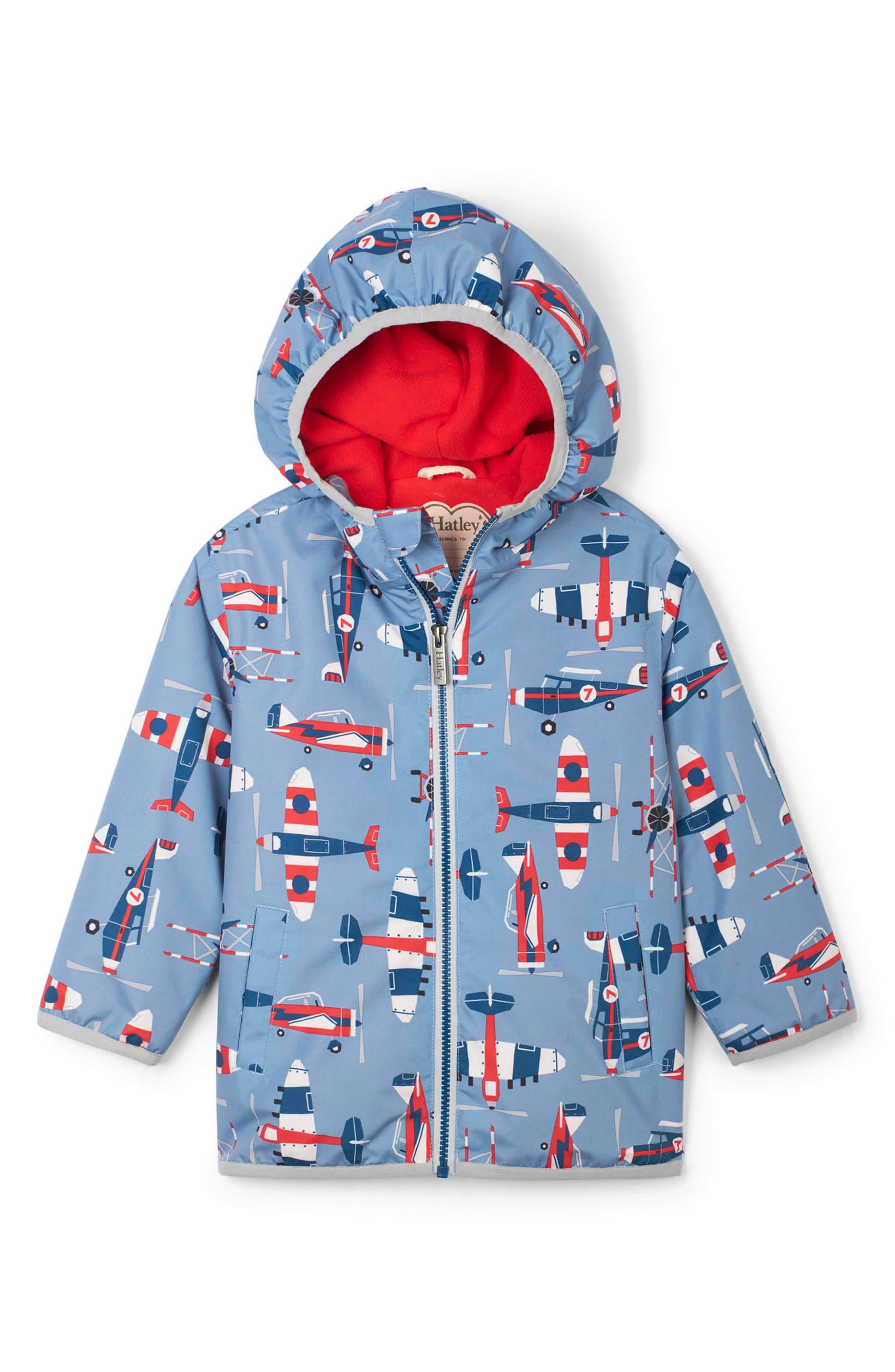 Toddler Boys Hatley Paper Planes Waterproof Hooded Raincoat Size 3T  Blue