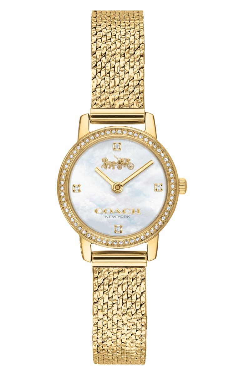 COACH Audrey Pavé Mesh Band Watch, 22mm, Main, color, GOLD/ WHITE MOP / GOLD