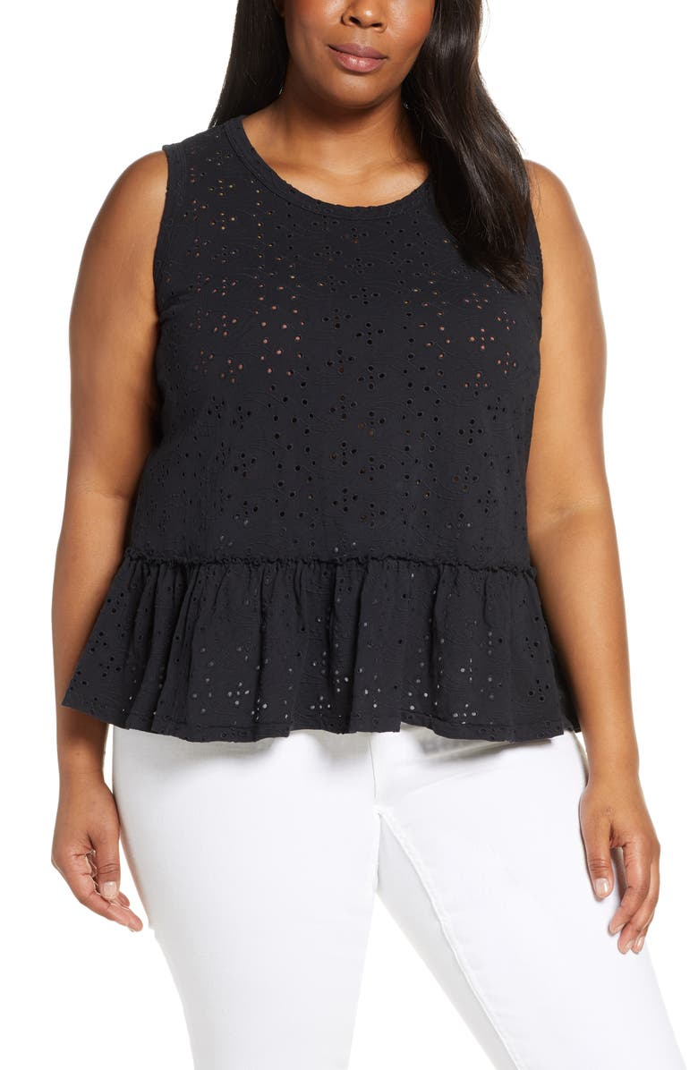 CASLON<SUP>®</SUP> Eyelet Peplum Tank Top, Main, color, 001