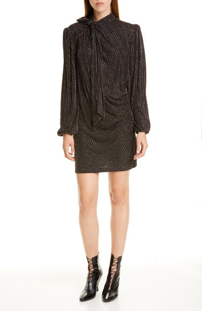 Marc By Marc Jacobs The Marc Jacobs The Disco Metallic Stripe Long Sleeve Minidress In Gold Multi