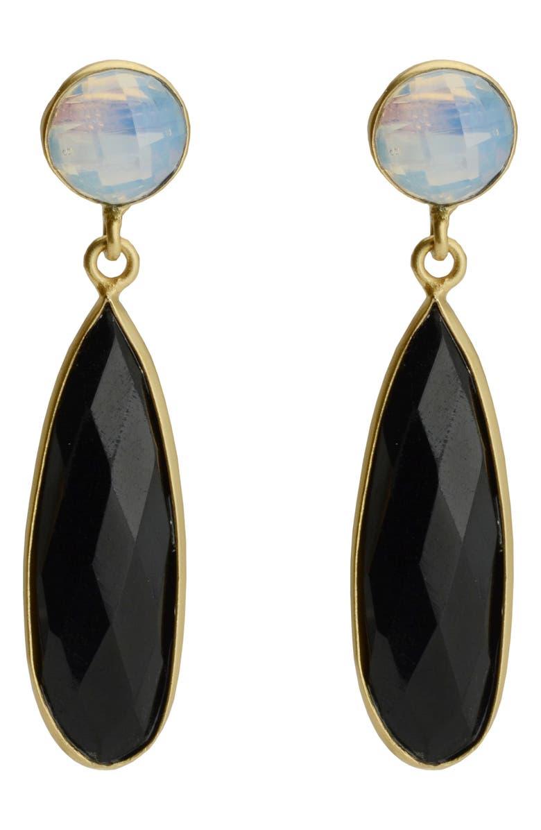 KAREN LONDON Iris Drop Earrings, Main, color, BLACK