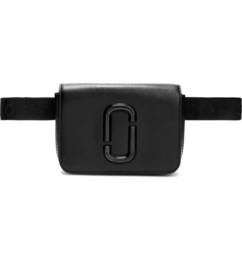 MARC JACOBS Hip Shot Leather Belt Bag, Main, color, BLACK