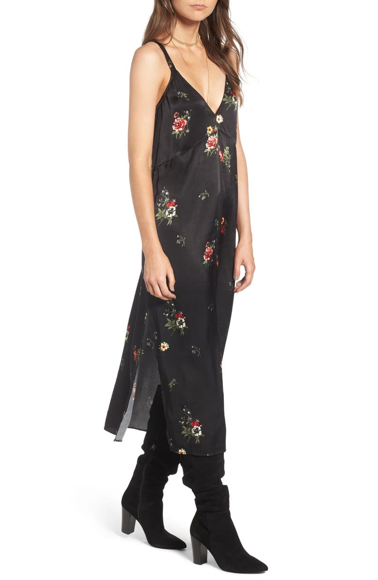 TREASURE & BOND x Something Navy Floral Print Slipdress, Main, color, 001