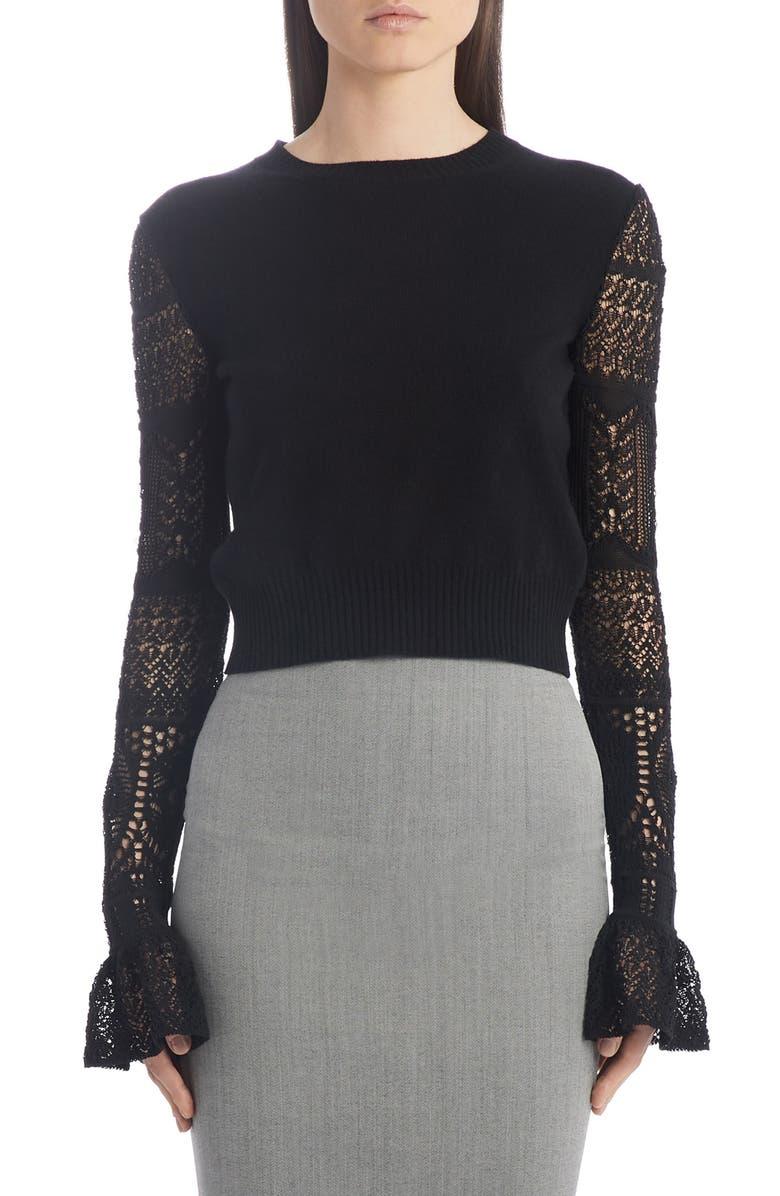 ALEXANDER MCQUEEN Crochet Sleeve Wool Sweater, Main, color, 001