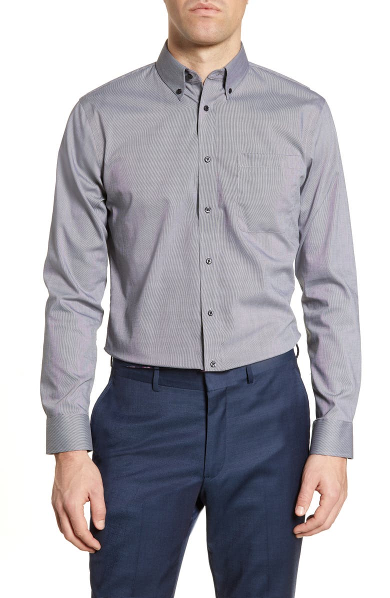 NORDSTROM MEN'S SHOP Trim Fit Non-Iron Dress Shirt, Main, color, GREY CASTLEROCK