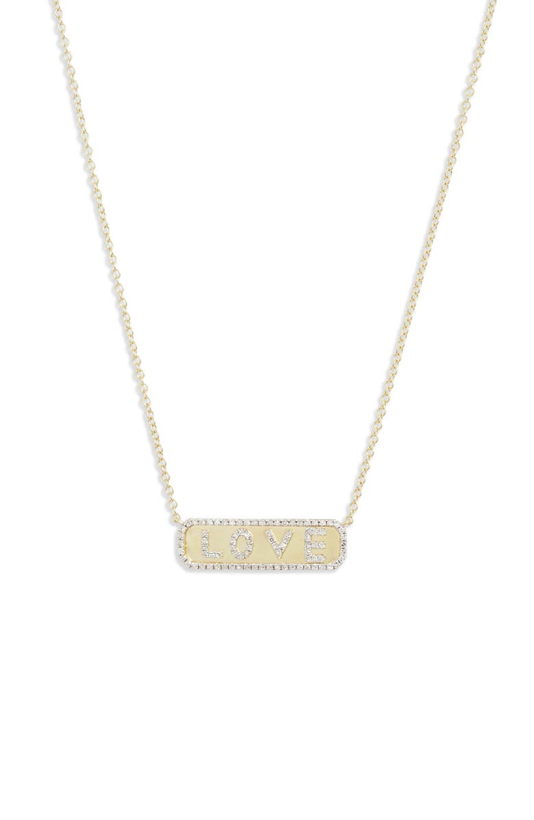 MEIRA T Diamond Love Pendant Necklace, Main, color, YELLOW GOLD/ DIAMOND