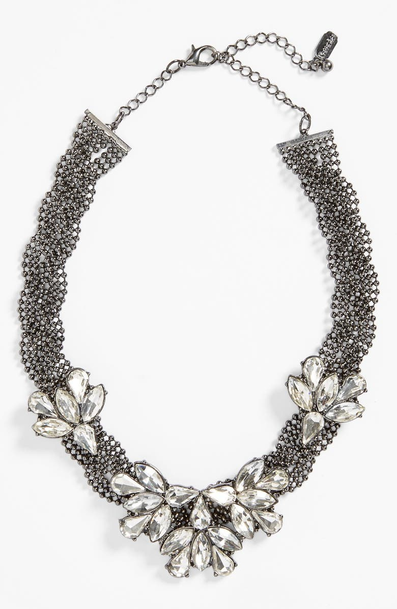 NATASHA COUTURE Braided Floral Crystal Necklace, Main, color, 040