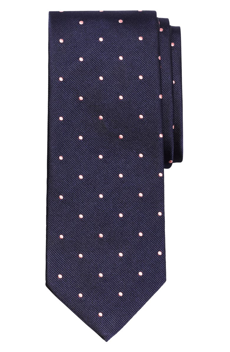 BROOKS BROTHERS Small Dot Silk Tie, Main, color, NAVY/ PINK