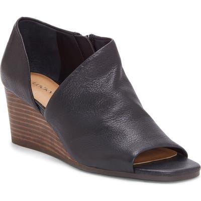 Lucky Brand Tylera Open Toe Wedge Bootie, Black