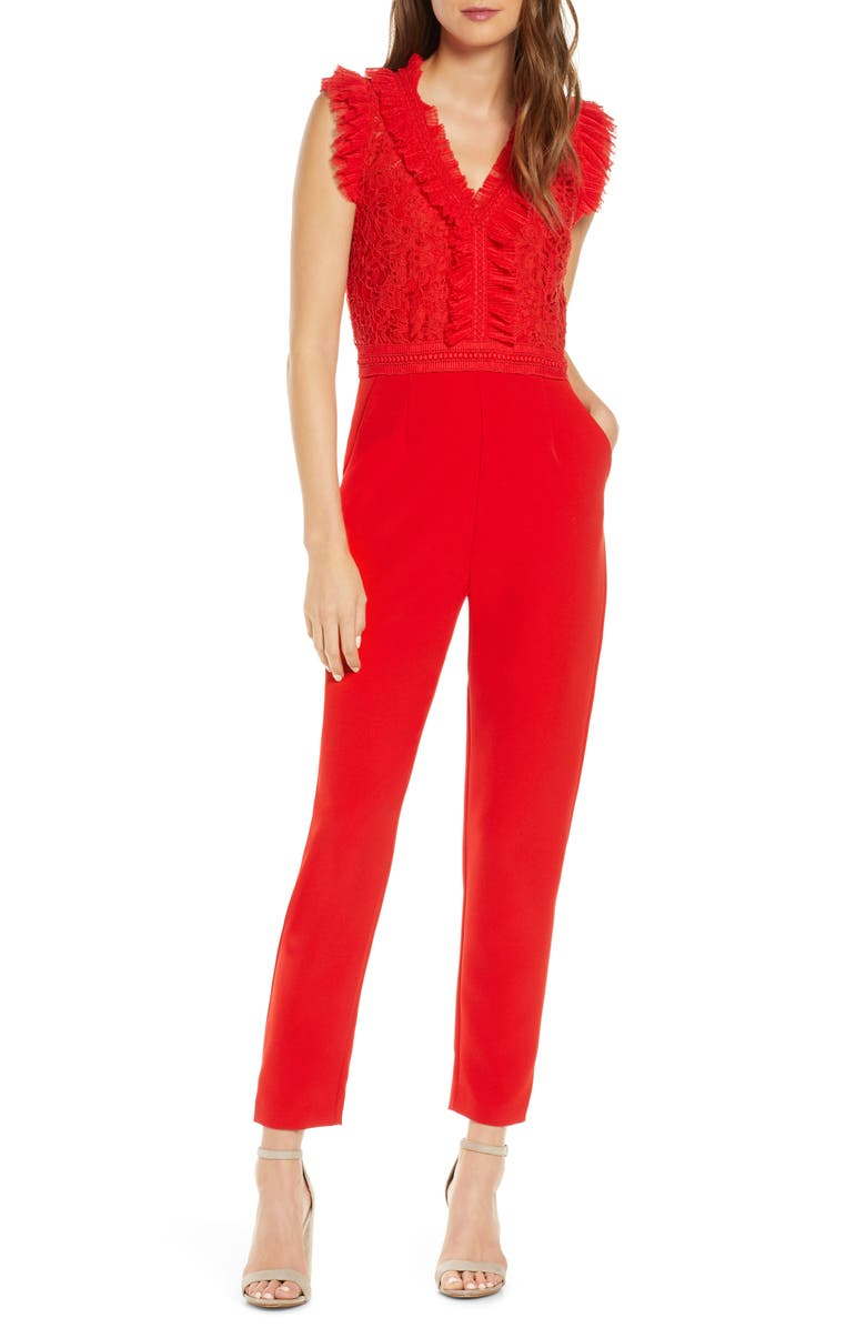ADELYN RAE Deven Mesh & Lace Jumpsuit, Main, color, RED