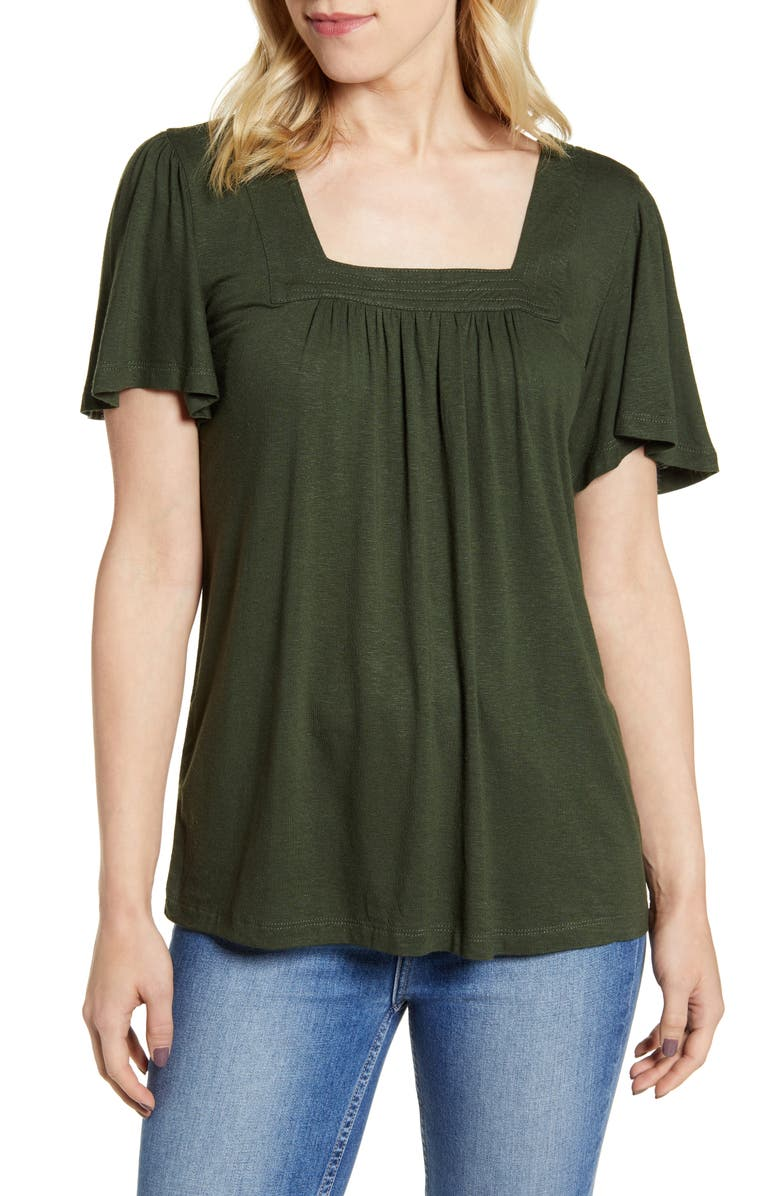 BOBEAU Kate Square Neck Top, Main, color, OLIVE