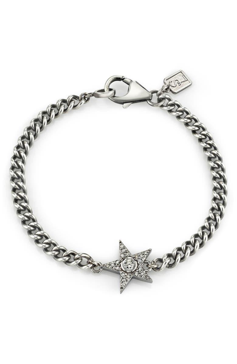 SHERYL LOWE Pavé Diamond Star Bracelet, Main, color, SILVER/ DIAMOND