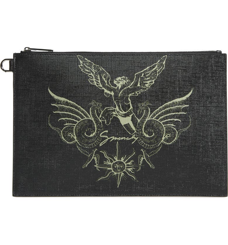 GIVENCHY Medium Icarus Faux Leather Pouch, Main, color, BLACK