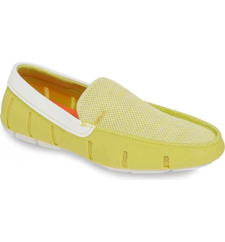 SWIMS Driving Shoe, Main, color, LIMEADE/ WHITE FABRIC