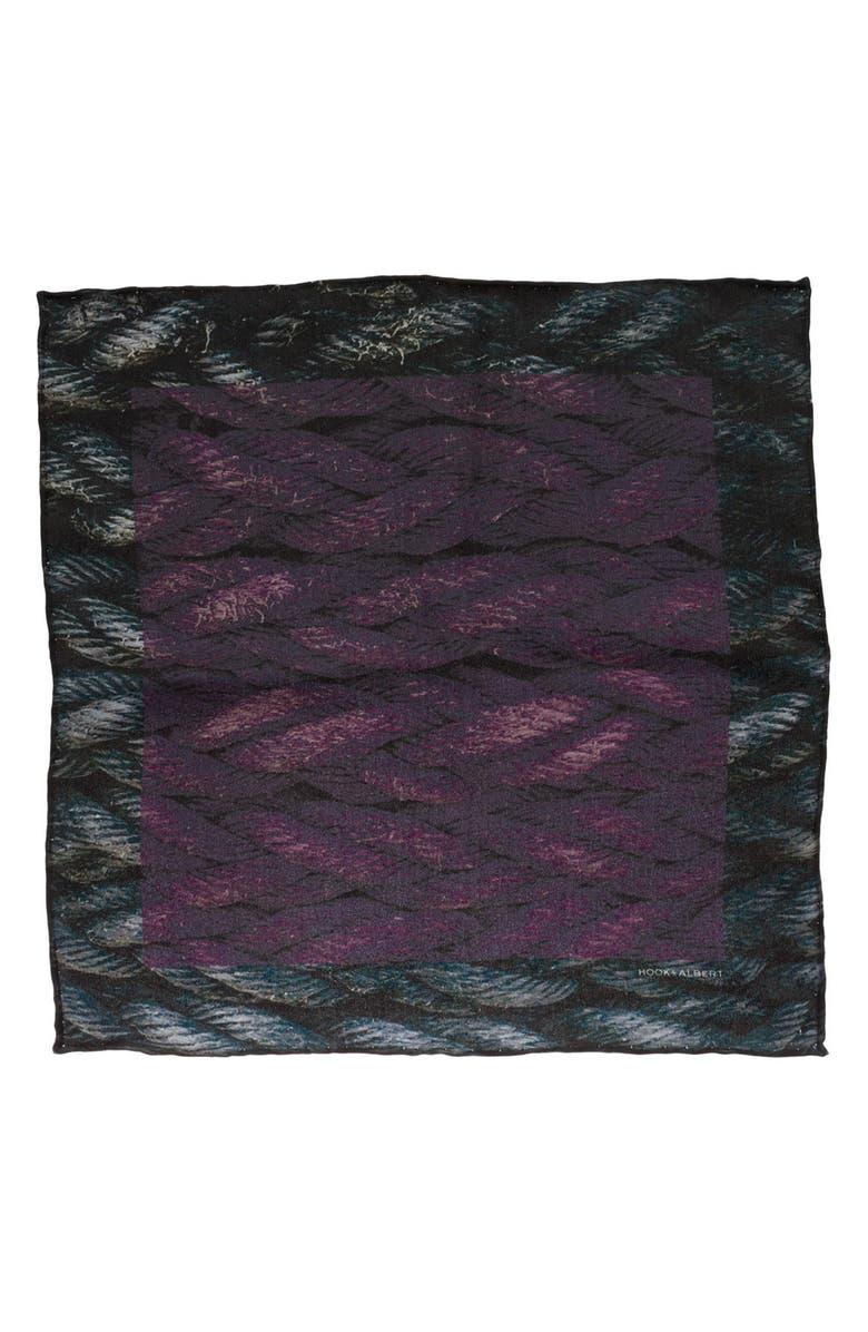HOOK + ALBERT Sling Silk Pocket Square, Main, color, PURPLE