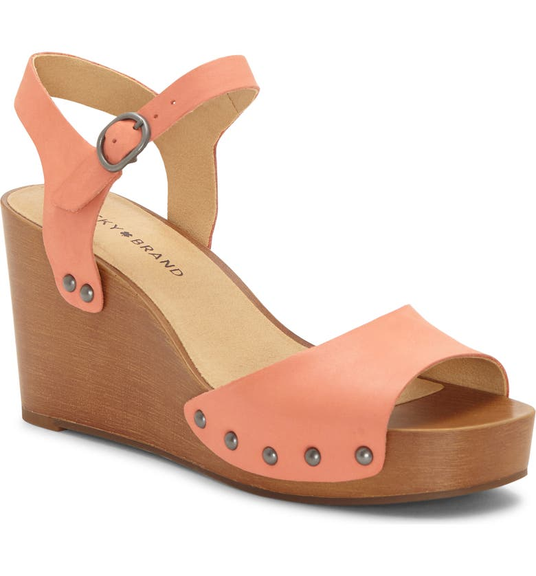 LUCKY BRAND Zashti Wedge Sandal, Main, color, CORAL LEATHER