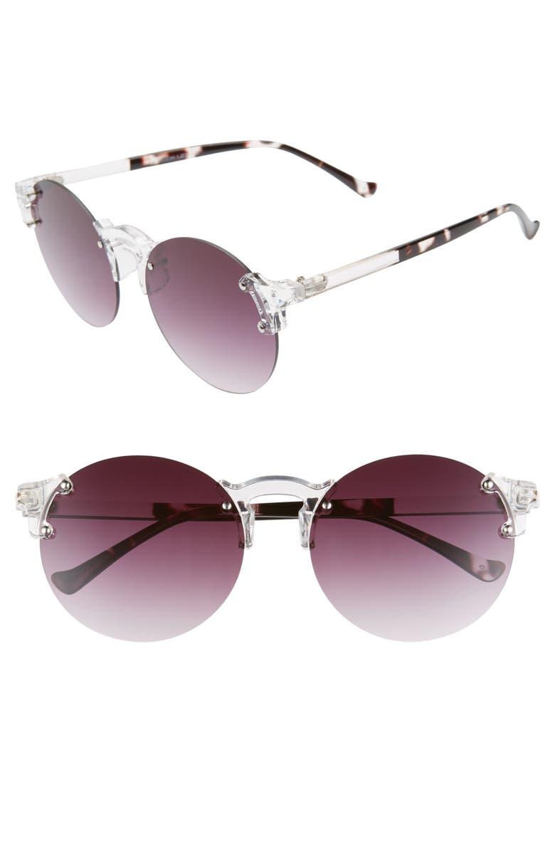 GLANCE EYEWEAR 59mm Gradient Rimless Round Sunglasses, Main, color, CLEAR/ BLACK