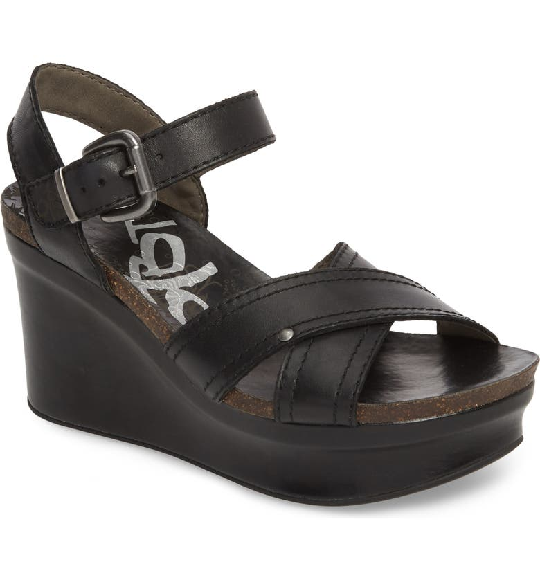 OTBT Bee Cave Wedge Sandal, Main, color, BLACK LEATHER