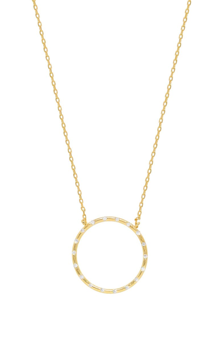 ETTIKA Crystal Studded Ring Pendant Necklace, Main, color, GOLD