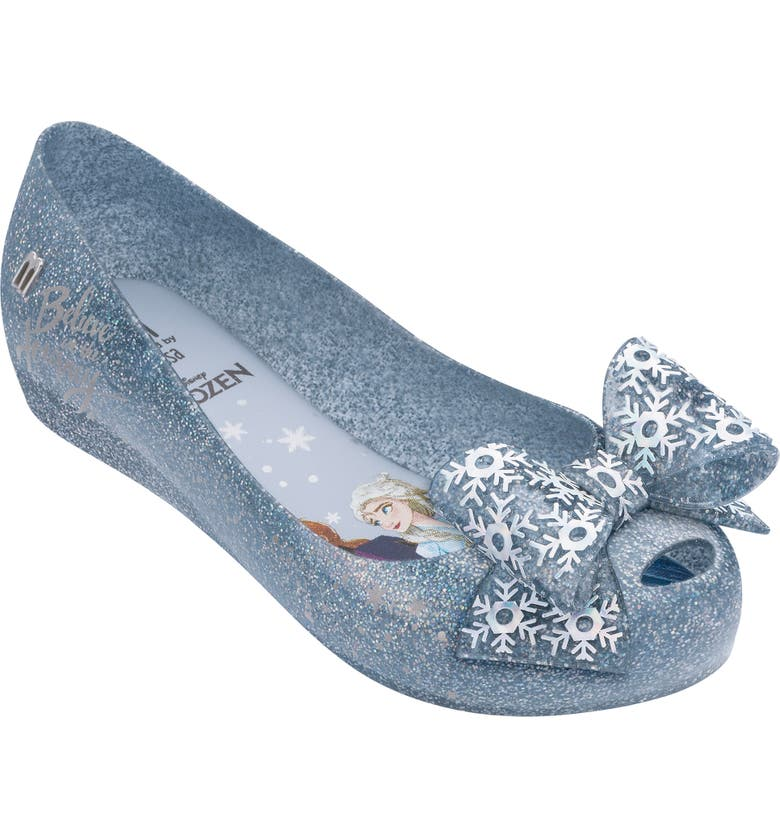 MEL BY MELISSA Disney 'Frozen' Ultragirl Flat, Main, color, SILVER GLITTER